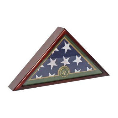 Army Memorial Burial FuneralフラグDisplay Case for Flag 5X 9.5' Folded–マホガニー仕上げfc59-mah W