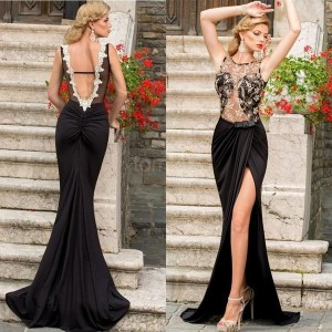 Embroidered Mesh Wrap Maxi Dress Party Dress (Color: Black)