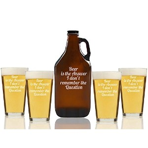 """Chloe and Madison """" Beer Is The Answer """"ビールAmber Growler & Pint Glasses、5のセット"""