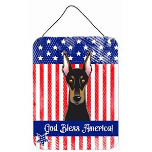 Caroline 's Treasures bb2175ds1216 God Bless American Flag with Doberman壁またはドアHanging Prints...