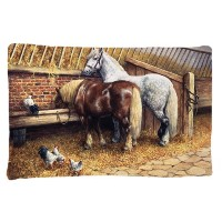 Caroline 's Treasures bdba0135pillowcase Horses Eating with the Chickensファブリック枕カバー、標準、マルチカラー