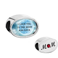 CharmedクラフトブルーI Love You To The Moon And Back Charms for Momレディースガールズのブレスレット