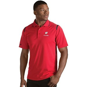Antigua Men 's Wisconsin Badgers Meritポロシャツ XL ブラック