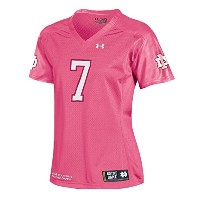 Notre Dame Fighting Irish Under Armour # 7レディースピンクサイドラインFootball Jersey