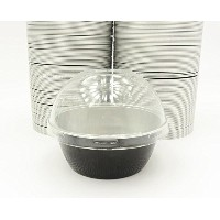kitchendance使い捨てアルミColored Baking cups- Creme Brulee cups-デザートcups- 4オンスサイズwith Lids Black w/ High...