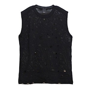 (バガーチ) BAGARCH BH-1022 CRASH LIGHT KNIT VEST サマーニット ベスト (BLACK)