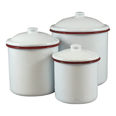Enamelware Three Piece Canisterセットホワイトwithレッドリム