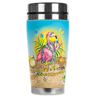 Mugzie 723-MAX Flamingo Drinking Stainless Steel Travel Mug with Insulated Wetsuit Cover, 20 oz,...