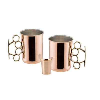 "(Brass Knuckle, 20 Oz) - Old Dutch 2-Pack 590ml Copper ""Brass Knuckle"" Moscow Mule Mugs with BONUS..."