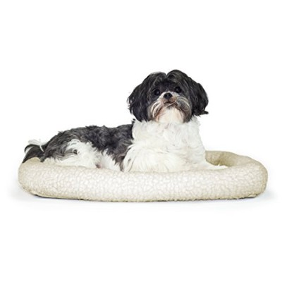 NAP Pet Bed Sherpa Faux Lambswool Bolster Pet Bed, Small Fits 18 x 24 by Furhaven Pet