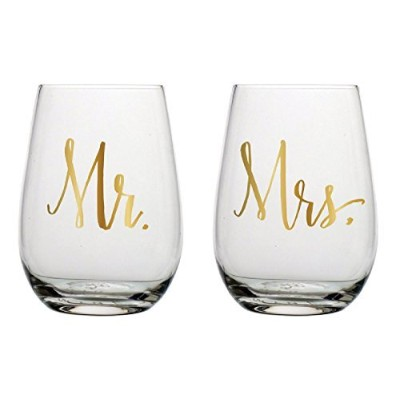 Slant Mr & Mrs Stemless Wine Glasses- Set of 2 by Slant [並行輸入品]