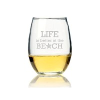 "Chloe and Madison "" Life is Better at the beach」Stemlessワインガラス、4のセット"
