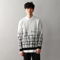 SALE【GUILD PRIME ギルドプライム】 【Education from Youngmachines】MENS ピールドチェックニット ホワイト メンズ