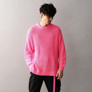 SALE【GUILD PRIME ギルドプライム】 Safari掲載【Education from Youngmachines】MENS イタリアンネオンビッグニット ピンク メンズ