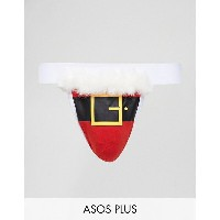 エイソス メンズ ブリーフパンツ アンダーウェア ASOS PLUS Christmas Jock Strap With Santa Print & White Fluff Multi