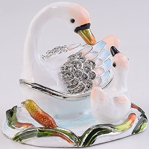 Swans TrinketボックスDecorated with Swarovski Crystals