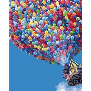 YEESAM ART Paint by Number Kits for Adults Kids White Christmas Gifts - Hot Air Balloon 16x20 inch Linen Canvas by YEESAM ART