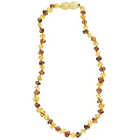 Momma Goose Baroque Teething Necklace, Cognac and Milky, Medium/12-12.5 by Momma Goose