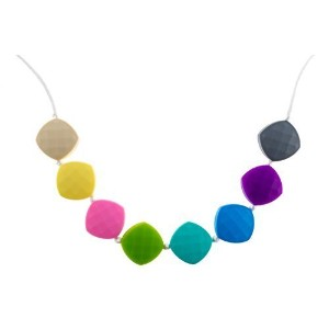 Chew-Choos 'Sweet pea' Silicone Teething Necklace (Pastel Rainbow) by Chew-Choos