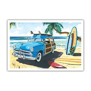 Old Friends–レトロWoodie on Beach withサーフボード柄–From anオリジナルカラーペイントby Scott Westmoreland–マスターアートプリン...