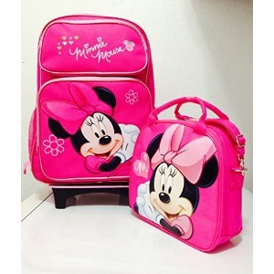 Disney Minnie Mouse Rolling Backpack with Detachable Wheeled Trolley- 16 Large PINK & Disney Minnie...