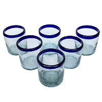 Hand BlownコバルトクリアブルーRimmedリサイクルメガネ、10オンスEcofriendly Mexican Tumblers ( Set of 6)