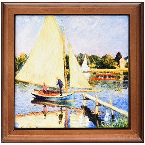 """3drose Ft _ 204172_ 1印刷のMonet Painting Boaters At Argenteuilフレーム付きタイル、8"""" x 8"""""""