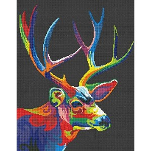Deer and colors counted cross stitch kits 14 ct, 鹿と色、クロスステッチキット 108*121ポイント、30*32cm クロスステッチ