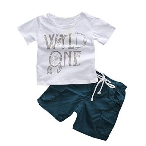 FEITONG 1Set Kids Toddler Boys Letter Print T-shirt+ Shorts (3T / 3Years) by FEITONG