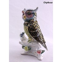 Feng Shui Owl - Hand Crafted and Decorated Chinese Porcelain,figurine 2105505. (Green)