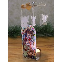 Nativity Candle Holder – Spinning Candle with Nativityシーンと回転エンジェルチャーム – Tea Light Candle含ま