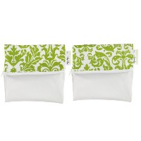 Itzy Ritzy Snack Happens Mini Reusable Snack Bag, Avocado Damask, Mini, 2-Count by Itzy Ritzy