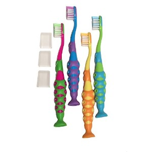 Kids Childrens Toddler Soft Bristle Easy Grip Toothbrush Set w/ Suction Base and Travel Dust Covers...