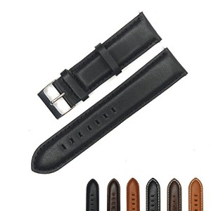 YqI Genuine Leather Watch Band for Men and Women ( 20 mm , 22 mmまたは24 mm ) ブラック