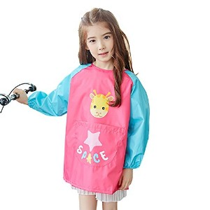 OLizee長袖防水アートSmock with Front Pocket Cartoon Giraffe Kids PaintingエプロンBib for Eating L(Height:115...