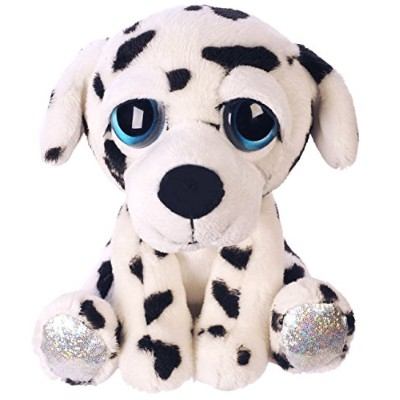 SukiギフトLil Peepers Fun Dylan Dalmatian Dog Plush Toy with Silver Sparkleアクセント(Medium,ホワイト/ブラック)