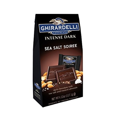 Ghirardelli Chocolate Intense Dark Squares, Sea Salt Soiree, 4.12 oz., 4 Count by Ghirardelli