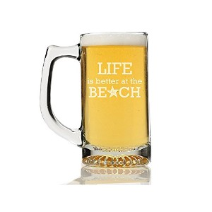 """Chloe and Madison """" Life is Better at the beach """" Beer Mug , Set of 4"""