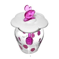 12ozガラスJam Jar Strawberry DecorボウルディッシュJar with fit-in-lidスプーン