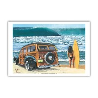 U Go Girl – レトロWoodie Car On Beach With Surfer Girl – From anオリジナルカラーペイントby Scott Westmoreland –...