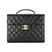 Chanel Vintage quilted business briefcase handbag - ブラック