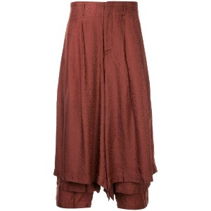 Comme Des Garçons Vintage pleated cropped palazzo pants - レッド