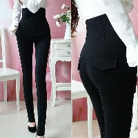 Womens High Waisted Zipper Slim Long Pencil Pants Stretch Leggings Trousers