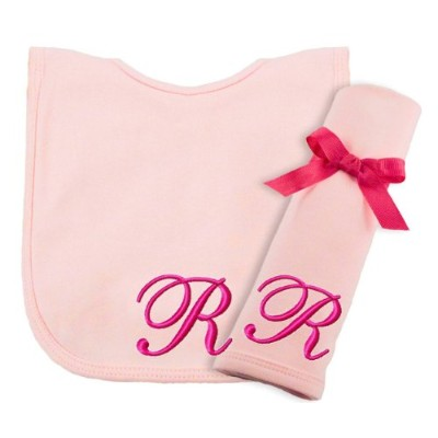 Princess Linens Embroidered Cotton Knit Bib and Burp Set - Pink, R by Princess Linens