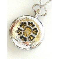 Steampunk Mad Hatter Pocket Watch Mechanicalチェーン