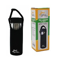 Tea Infuser Bottle & Cold Brew Coffee Maker、ガラス旅行ボトルwith RemovableステンレススチールティーインフューザーStrainer for...