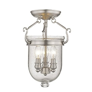 Livex Lighting 5081-91 Jefferson 3 Light Brushed Nickel Bell Jar Semi Flush with Seeded Glass by...