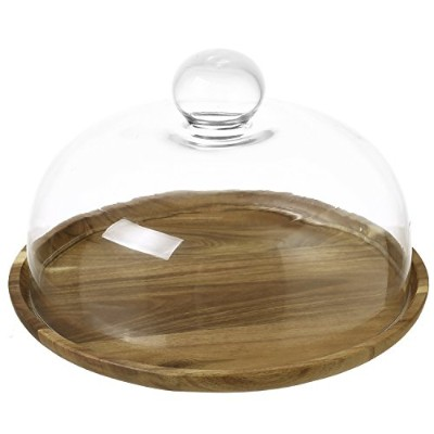 23cm Clear Glass Dessert & Cheese Cloche Dome with Acacia Wood Serving Tray