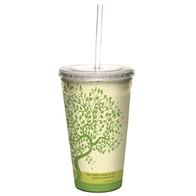 Inspiring Quote地球ツリー圧入Cool Travel Cup with再利用可能な麦わら、473ml–Inspirational gifts–tree-free...