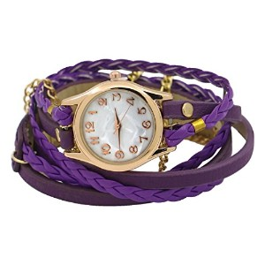 acamifashionレディースマルチレイヤFaux Leather Braided Bracelet Quartz Wrist Watch